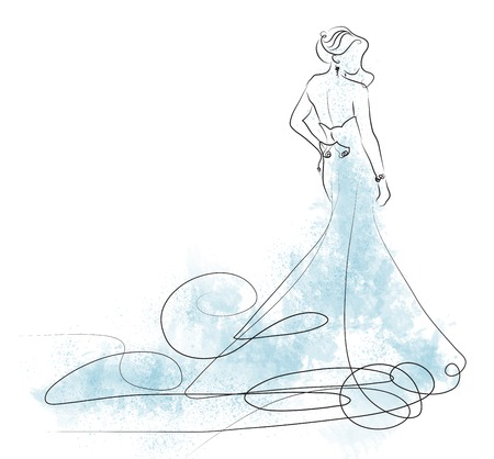 sketch of beautiful young bride in light blue  dress