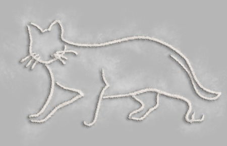 minimal style: Elegant cat done with flour line in  a minimal style