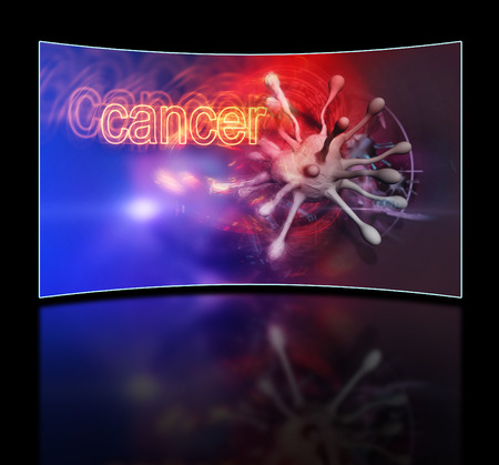 microcosm: cancer cell under microscope  made in 2d software