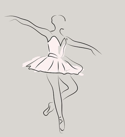 computer dancing: sketch of girls ballerina standing in a pose on gray background