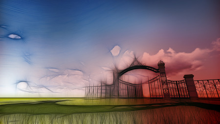 allegory painting: Gate to heaven made in 3d software