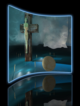 sky  dramatic: Figure of Crucifixion made in 3dmax end hand painted in photoshop