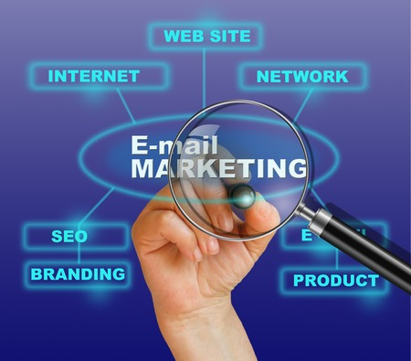 e-mail marketing concept met de hand, pensil en vergrootglas in 2d software