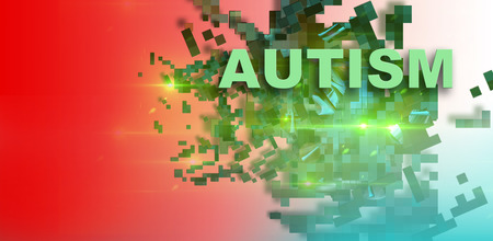 or shatter: writing word  Autism  on gradient background with many shatter green piece made in 2d software Stock Photo