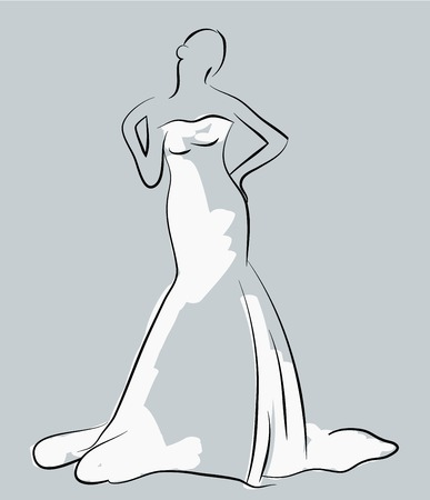 white dress: sketch of beautiful young bride in white dress