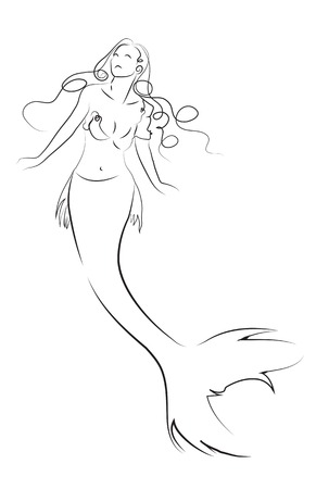 woman mermaid with long hair made in 2d software