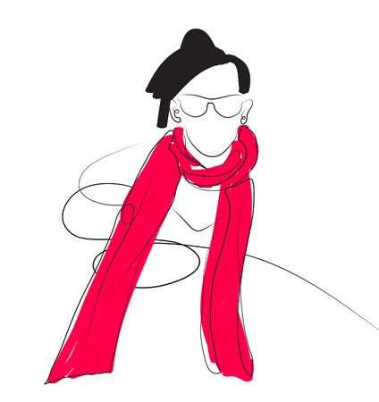 red scarf: woman in a elegant hat and red scarf