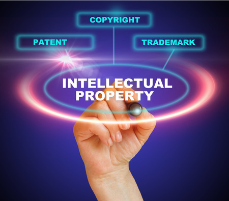 Presentation of protection of intellectual property Stock Photo