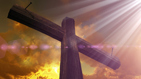 cross light: Wooden cross against the sky with shining rays Stock Photo