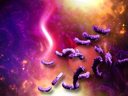 virus bacteria: Virus and bacterium background - High Quality 3D Render Stock Photo