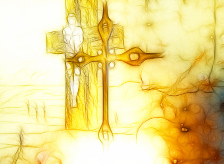 dramatic sky: Figure of Crucifixion made in 3dsoftware  end hand painted in 2d software