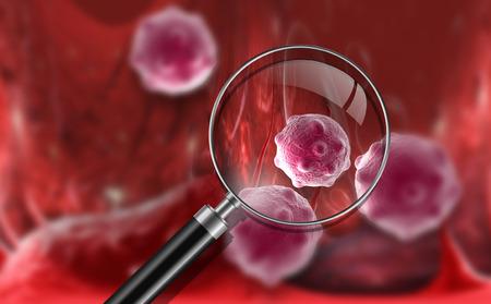 flu virus: Virus and bacterium background - High Quality 3D Render Stock Photo