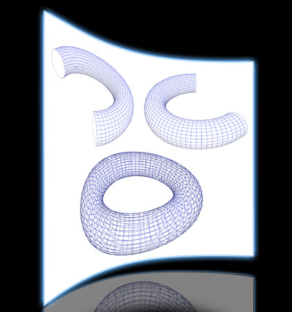 three objects: 3d torus shapes  wireframe ready for editing and simple for every design  isolated on white background