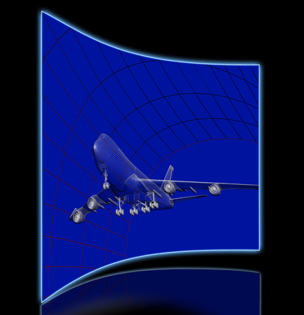 aerodynamic: Simulation of an aircraft model being analyzed in wind tunnel for aerodynamic effects on its structure