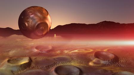 alien landscape: surreal alien landscape with planet made in 3d software Archivio Fotografico