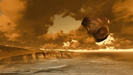alien landscape: surreale paesaggio straniero con il pianeta realizzato in software 3D Archivio Fotografico
