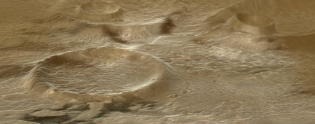 craters: alien terrain with craters made in 3d software Stock Photo