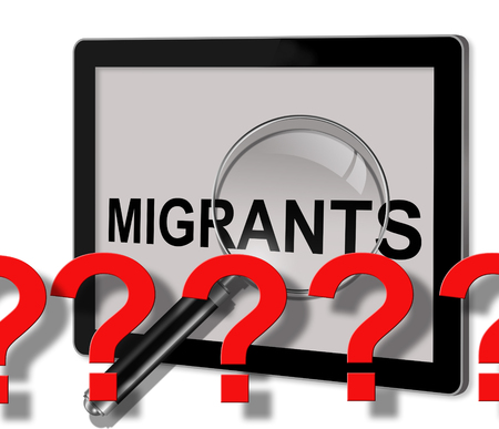seeker: close up of magnifying glass on word migrants with question marks    on screen of tablet  made in 2d software