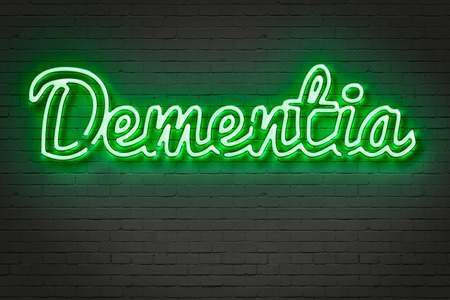 aging brain: writing   words  DEMENTIA   on bricks  background made in 2d software
