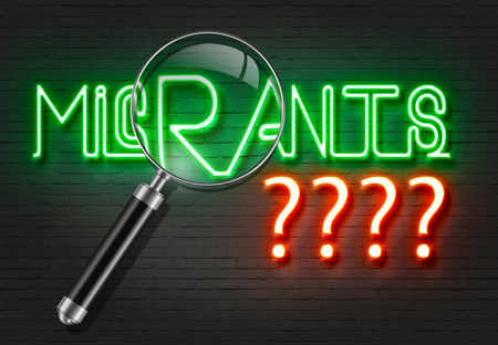 unwanted: word migrants with red neon question marks and magnifying glass  on the wall made in 2d software Stock Photo