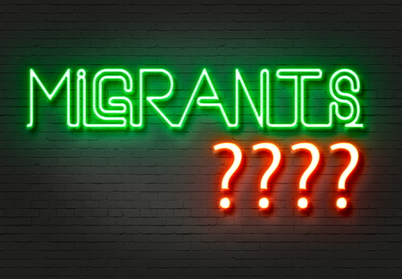 seeker: word migrants with red neon question marks    on the wall made in 2d software
