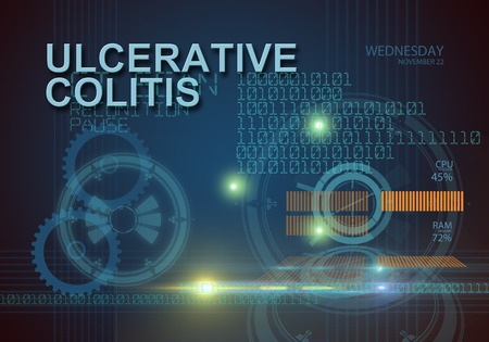 hi tech infographics of ulcerative colitis made in 3d software