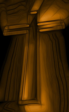 wooden cross: Wooden cross with rays behind on black  made in 3d software
