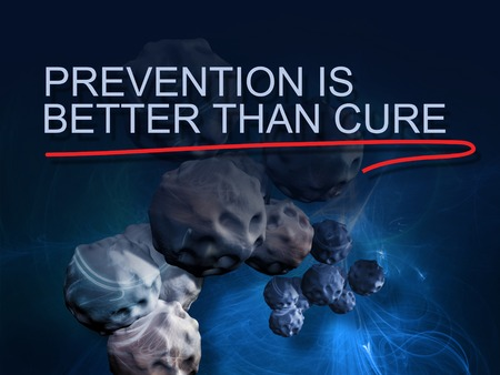 piel humana: words prevention is better than cure with red line on background  of cancer cell image Foto de archivo