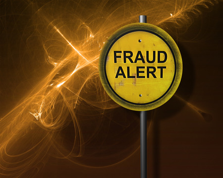 theft prevention: sign with words  fraud alert  made in 3d software Stock Photo