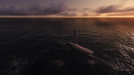 plane accident in a ocean 3d render Stock Photo