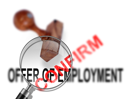 confirm: Offer of employment - confirm  made in 2d software Stock Photo