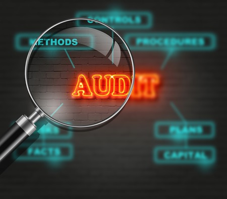 audit: writing   words  AUDIT   on bricks  background made in 2d software Stock Photo