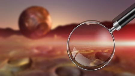alien landscape: surreal alien landscape with planet made in 3d software Stock Photo