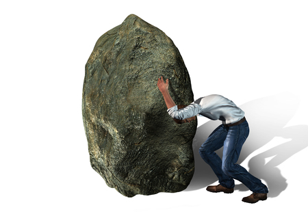 rock: Concept of stress -  man with a big rock made in 3d software Stock Photo