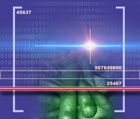 encoding: cancer cell  scanner made in 3d software Stock Photo