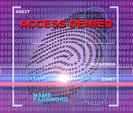 denied: Fingerprint scanner. Access denied Stock Photo