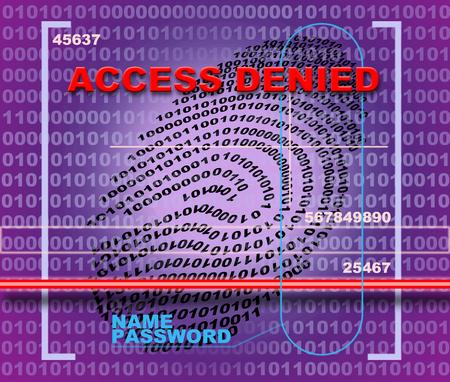 access denied: Fingerprint scanner. Access denied Stock Photo