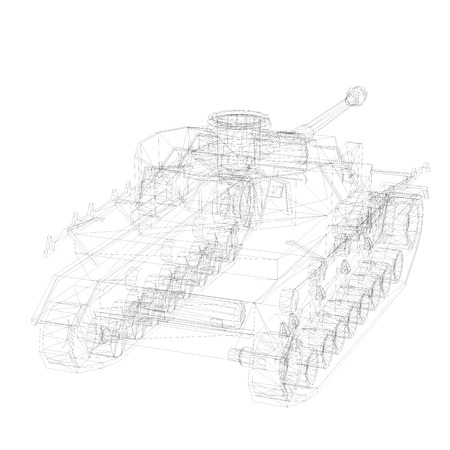 firepower: 3D wireframe model of tank  isolated on white background