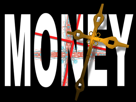 gold cross: word money with red  cross inside and gold cross on top made in 3d software
