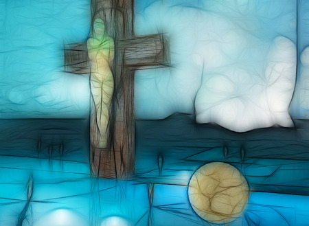 awe: Figure of Crucifixion made in 3d software and hand painted in photoshop