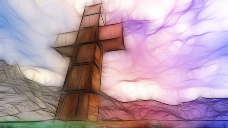 cross: Wooden cross in water made in 3d software Stock Photo