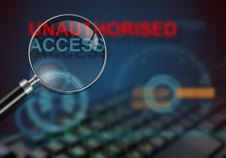 unauthorised: hi tech infographics of unauthorised access made in 3d software Stock Photo