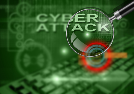 cyber attack: hi tech infographics of cyber attack made in 3d software Stock Photo