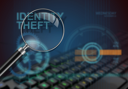 theft: hi tech infographics of identity theft made in 3d software