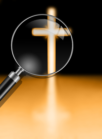 sanctity: Cross with light shafts Stock Photo