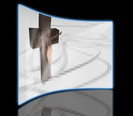 crucified: A stone statue of woman  crucified made in 3d software Stock Photo