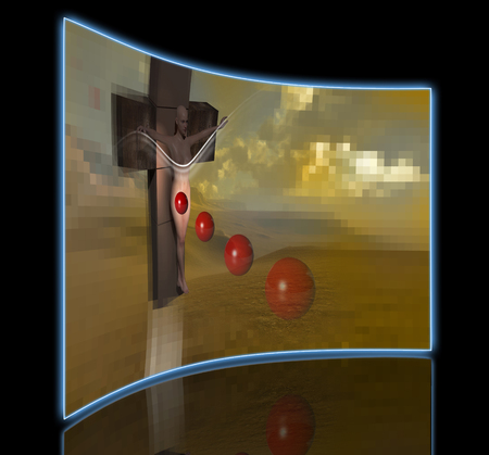 crucified: Woman  crucified end red balls  made in 3d software