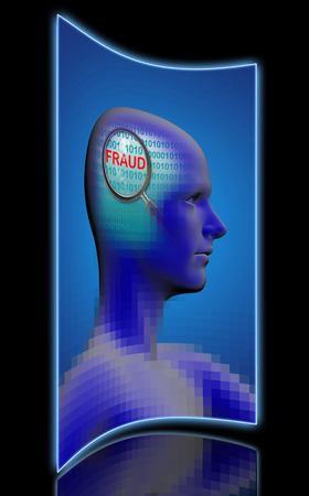 cognicion: profile of a man with close up of magnifying glass on fraud  made in 2d software