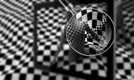 digitally concepts: Checkered composition with Black end White checkered people made in 3d Stock Photo