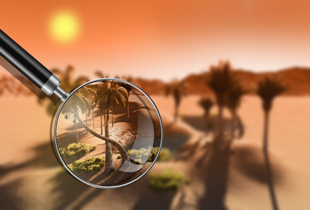 travel locations: Oasis in the desert made in 3d software Stock Photo